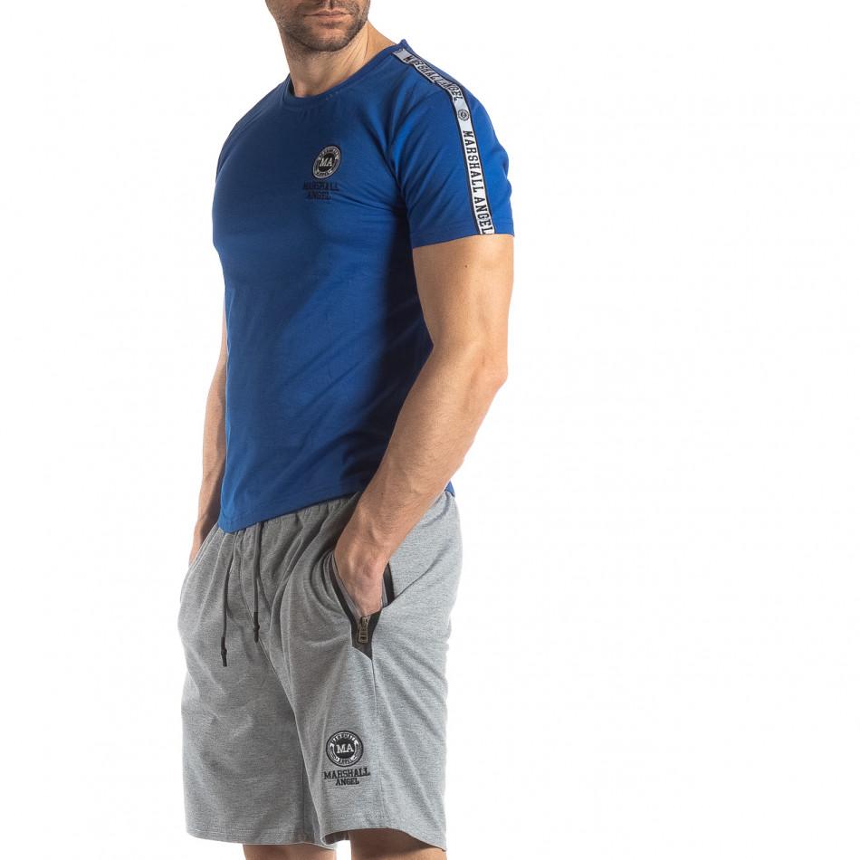 Ανδρική μπλε κοντομάνικη μπλούζα με λογότυπο it210319-84