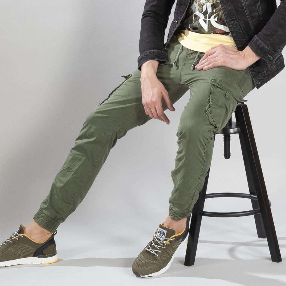 Ανδρικό πράσινο παντελόνι cargo με κορδόνια it210319-20