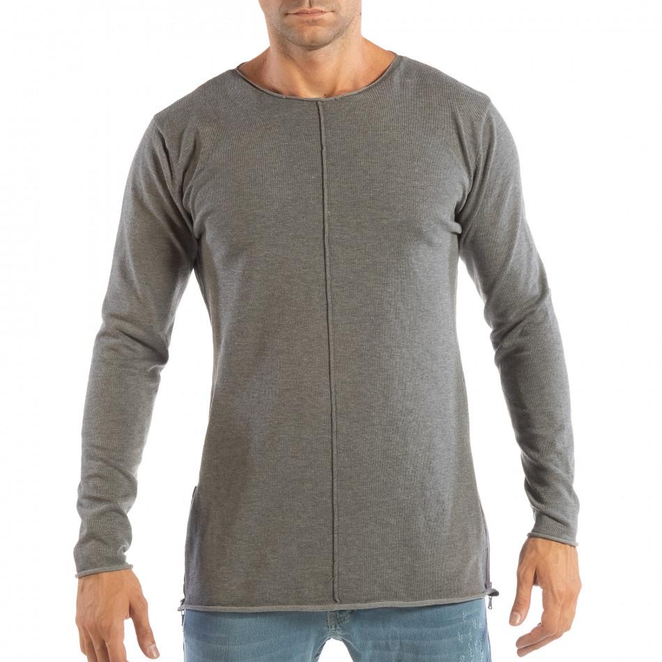 Ανδρική γκρι μπλούζα από πλεκτό ύφασμα με φερμουάρ it240818-125