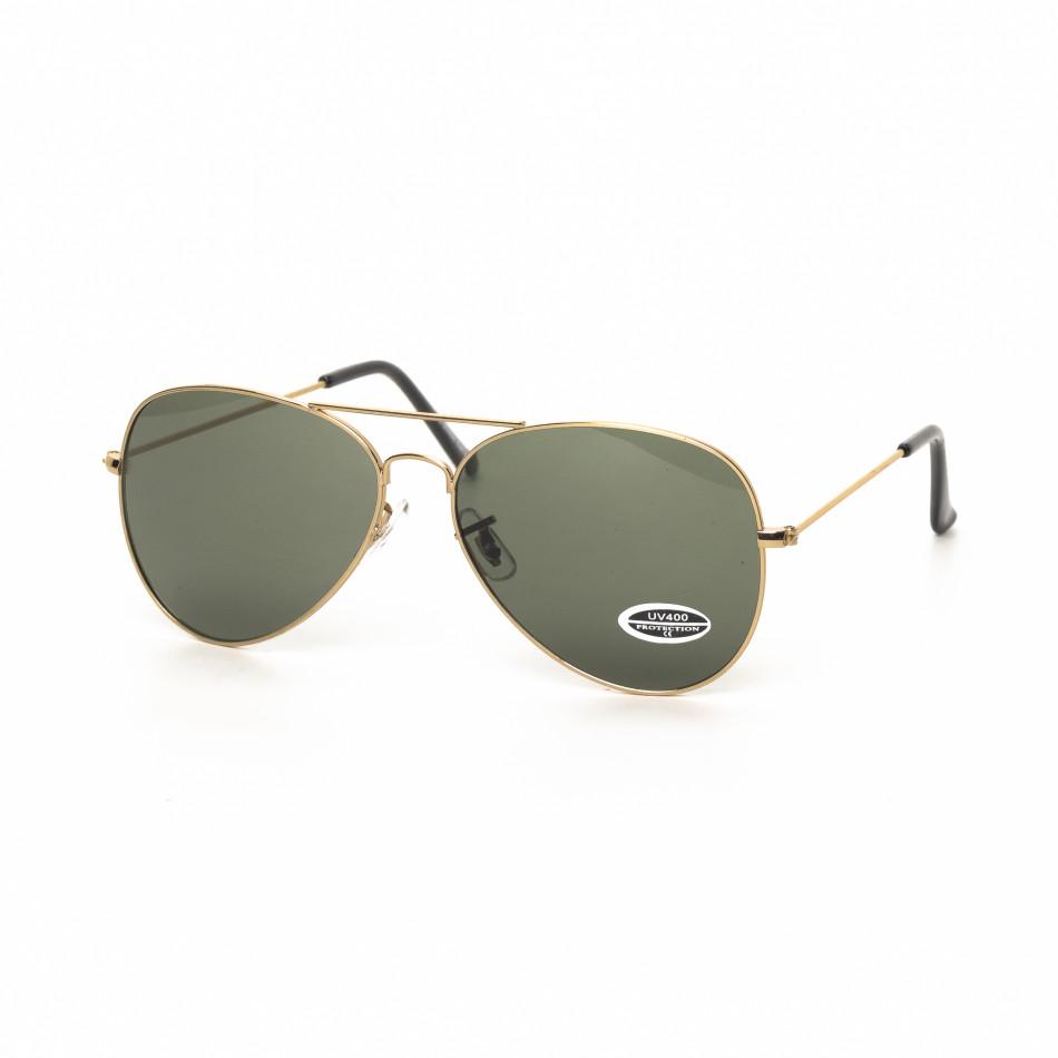 Ανδρικά μαύρα γυαλιά ηλίου πιλότου με χρυσαφί σκελετό it030519-15