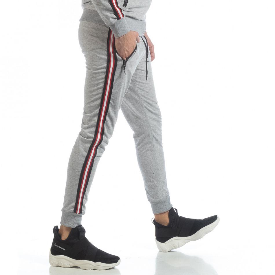 Ανδρική γκρι φόρμα 5 striped it040219-62