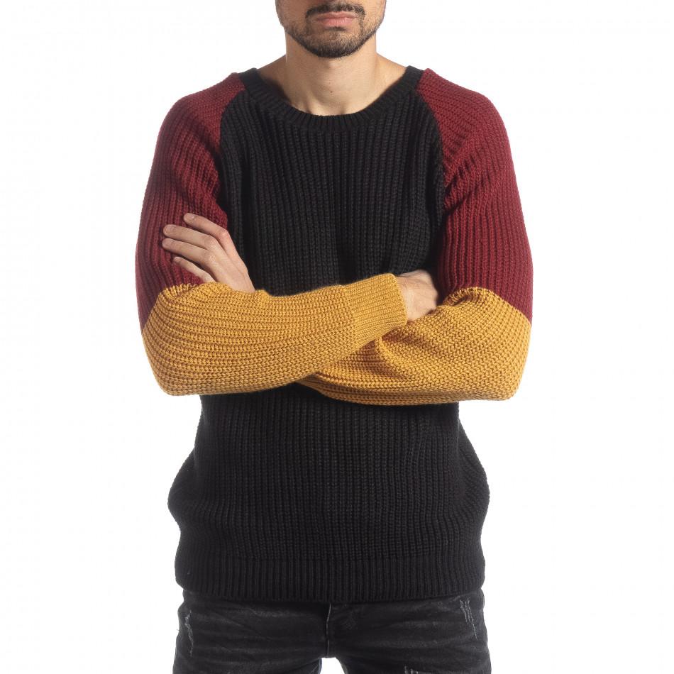 Ανδρικό πουλόβερ σε μαύρο, μουσταρδί και μπορντό  it051218-54