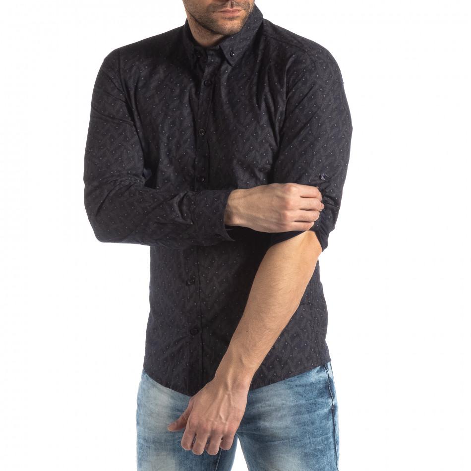 Ανδρικό Slim fit σκούρο μπλε πουκάμισο με μοτίβο φύλλα it210319-100