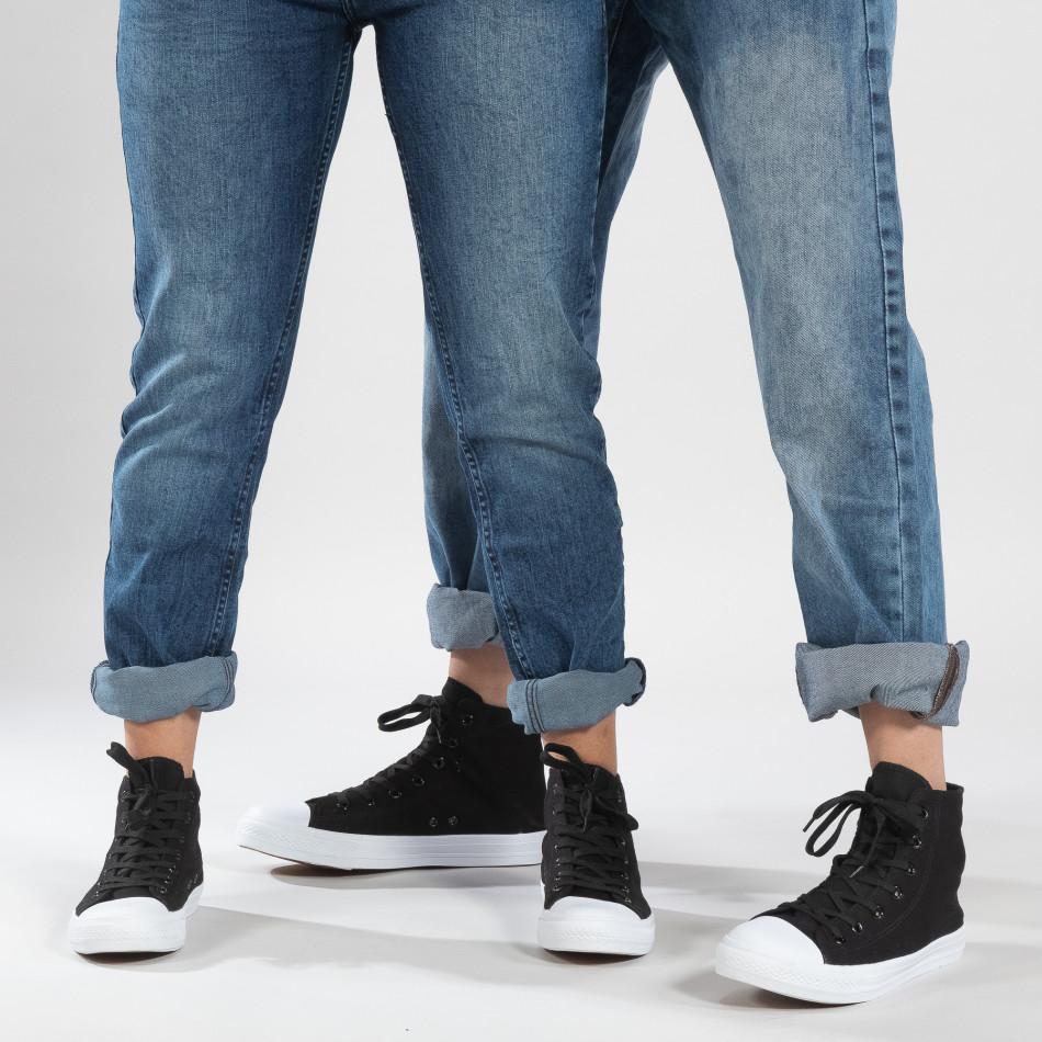 Ψηλά μαύρα sneakers για ζευγάρια κλασικό μοντέλο cs-it260117-53-it150319-33