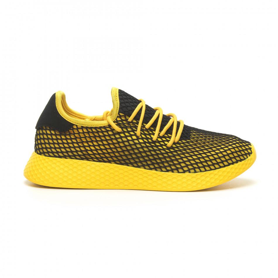 Ανδρικά κίτρινα αθλητικά παπούτσια Mesh με μαύρες λεπτομέρειες it230519-10