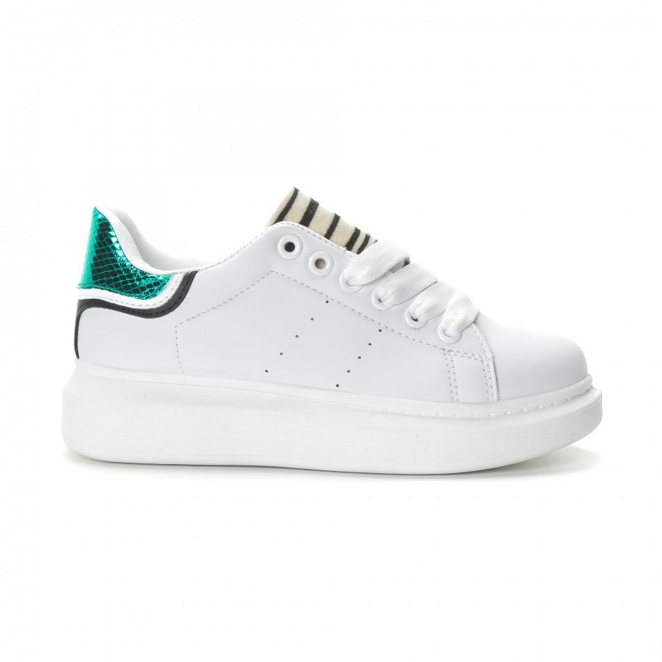 Γυναικεία λευκά sneakers με animal μοτίβα it270219-10