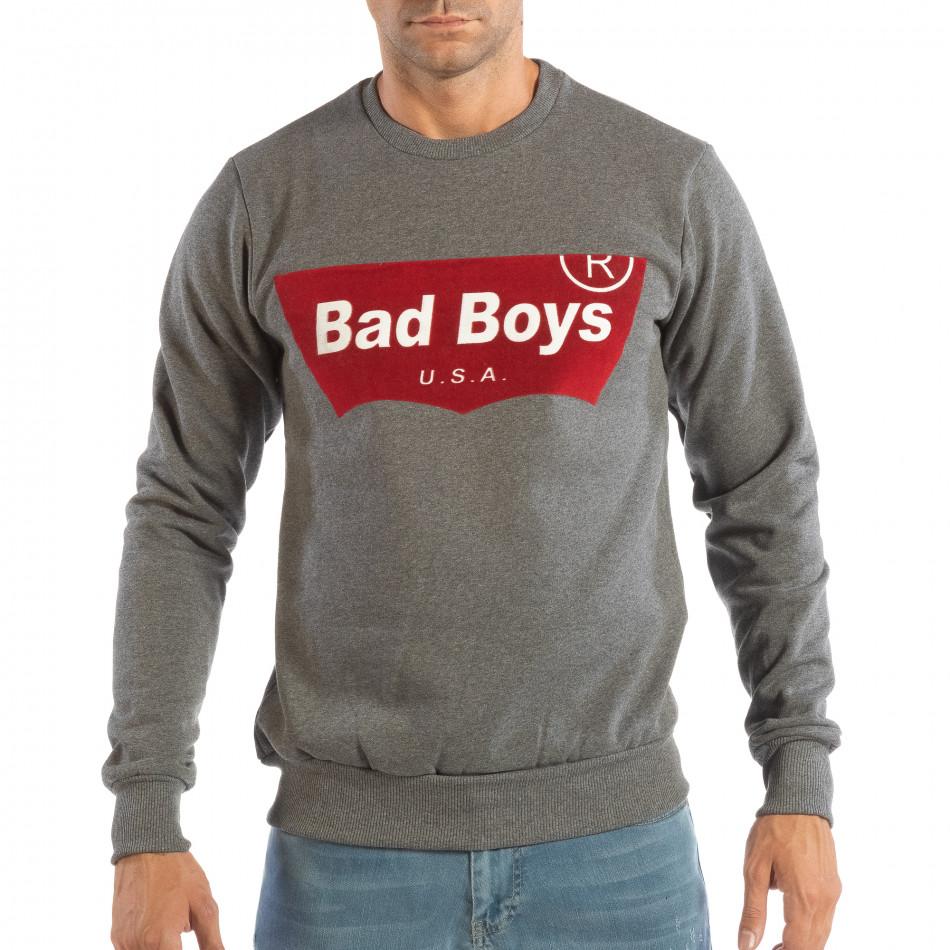 Ανδρική γκρι μπλούζα με στάμπα it240818-144