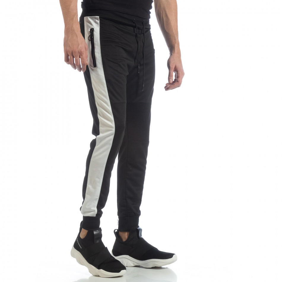 Ανδρική μαύρη φόρμα Biker με ρίγες it040219-43