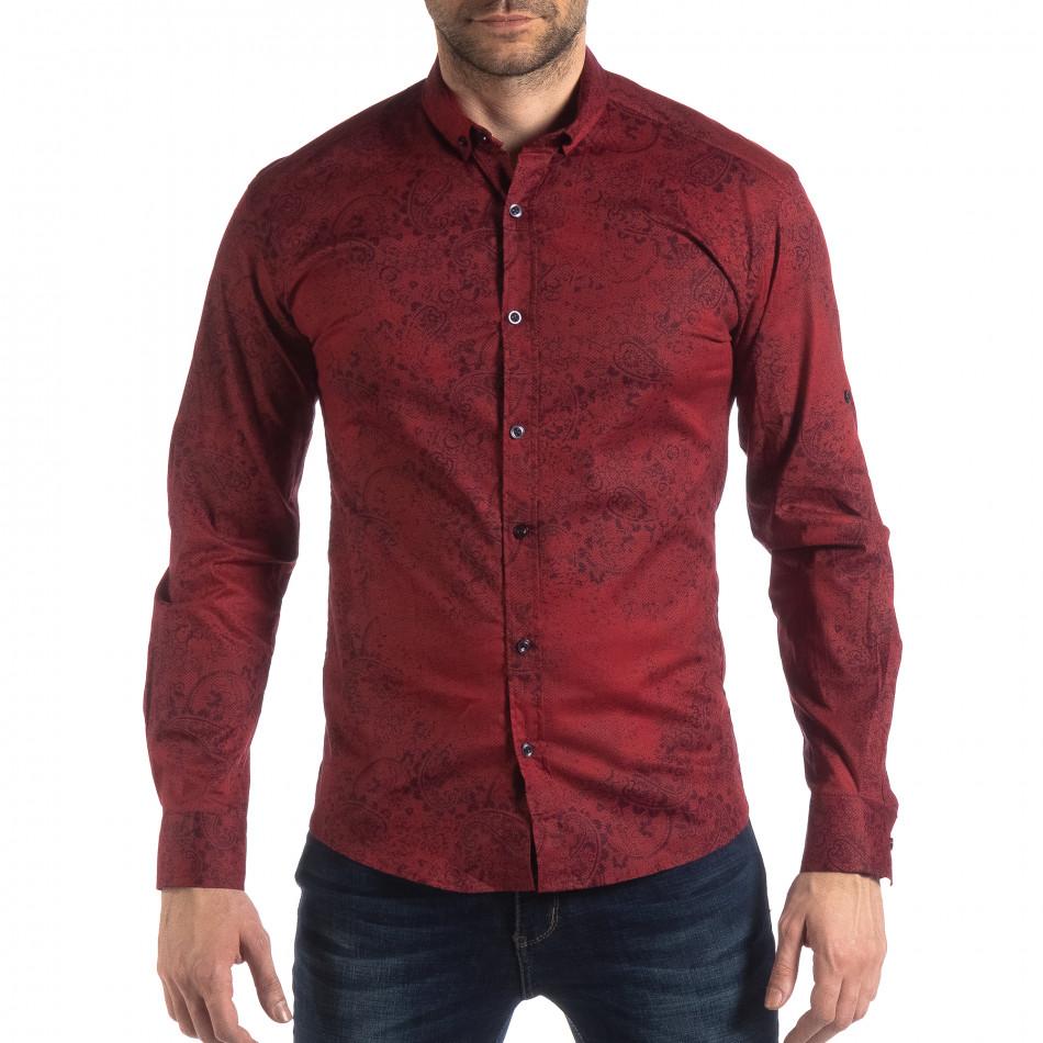 Ανδρικό μπορντό Slim fit πουκάμισο Vintage στυλ it210319-98