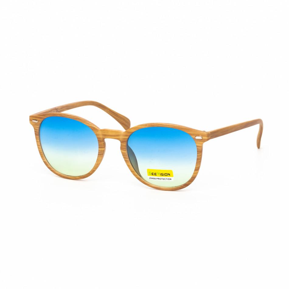 Ανδρικά γαλάζια γυαλιά ηλίου ξύλινο μοτίβο natural it030519-49