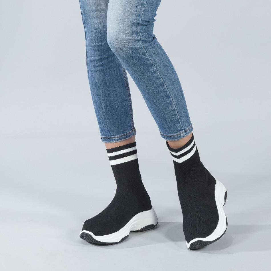 Γυναικεία μαύρα ψηλά sneakers καλτσάκι it250119-61