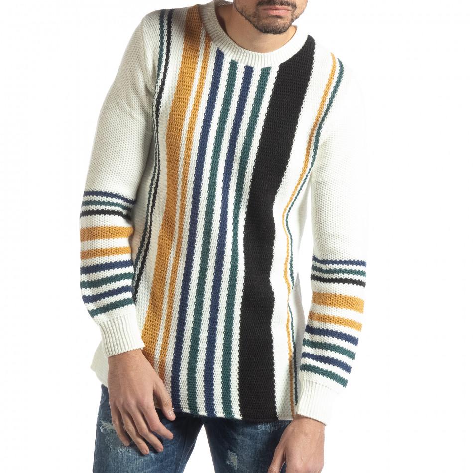 Ανδρικό λευκό πουλόβερ με πολύχρωμο ριγέ it051218-58
