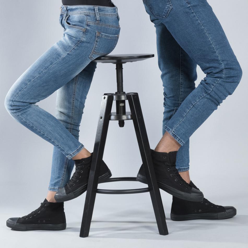 Ψηλά μαύρα sneakers για ζευγάρια κλασικό μοντέλο cs-black-B341-B339