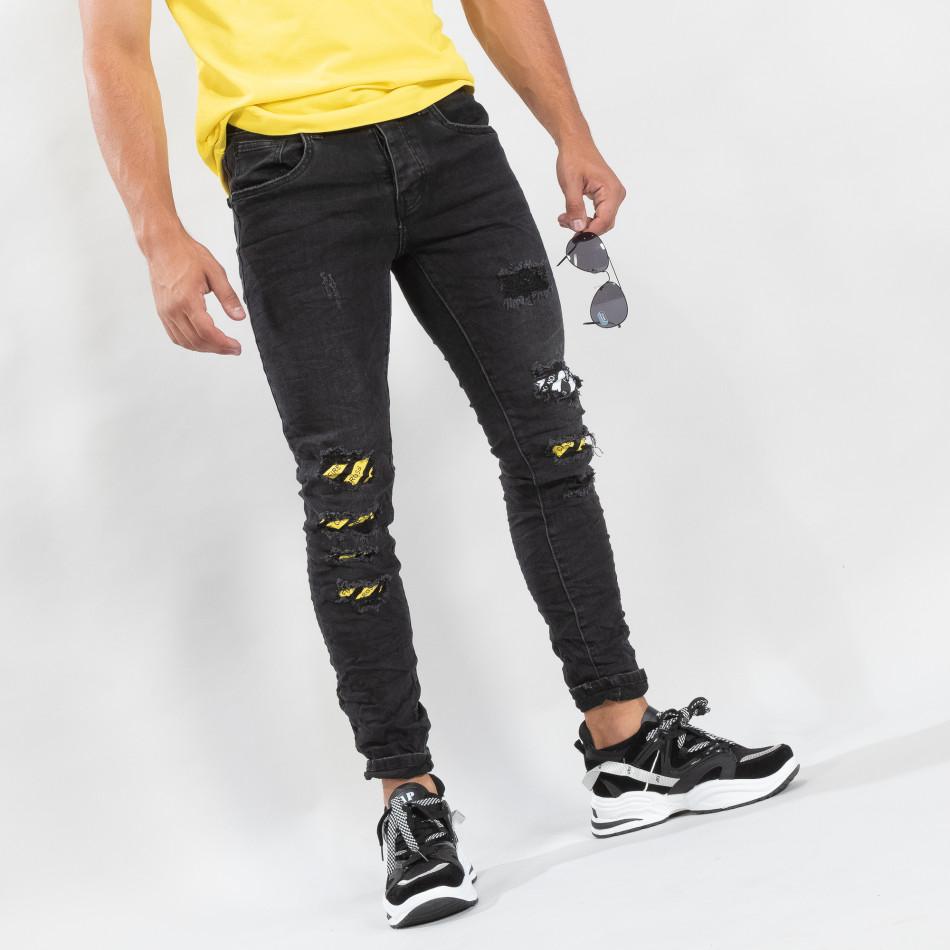 Slim fit ανδρικό μαύρο τζιν με διακοσμήσεις  it170819-50