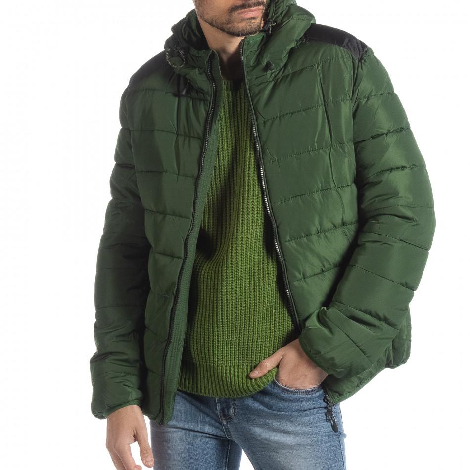 Ανδρικό πράσινο χειμερινό μπουφάν με μαύρες λεπτομέρειες it051218-65