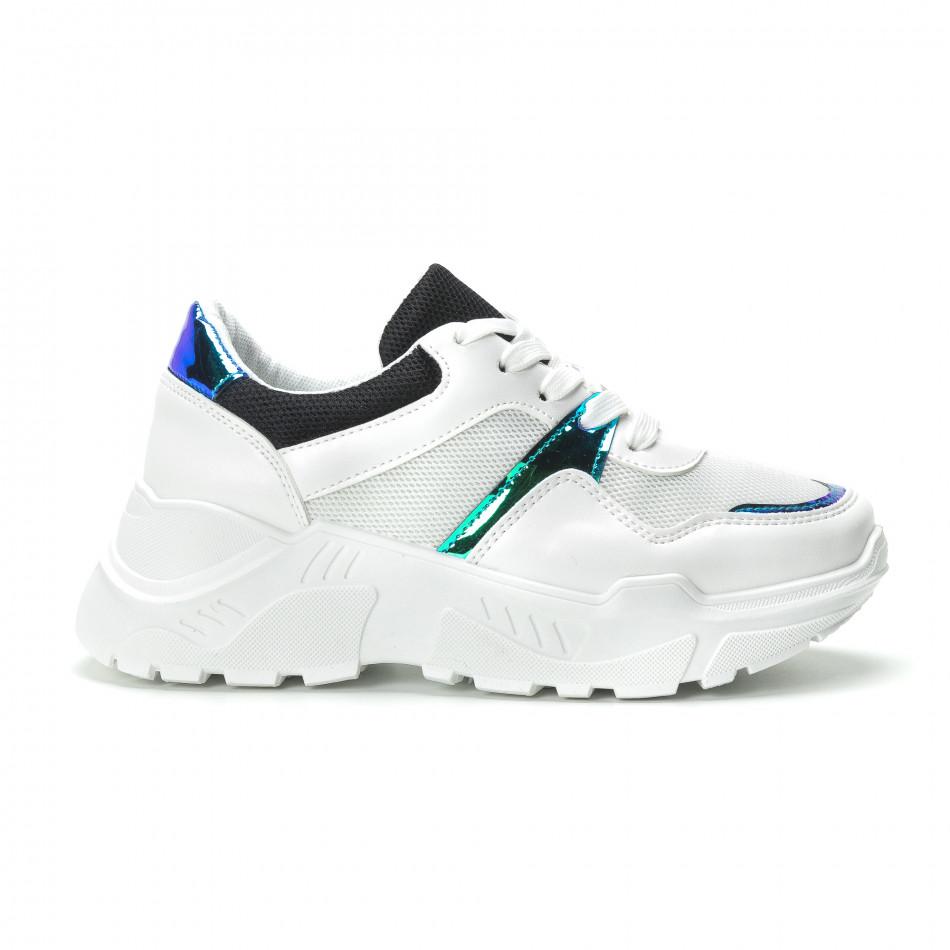 Γυναικεία λευκά sneakers με φωσφοριζέ λεπτομέρειες it250119-60