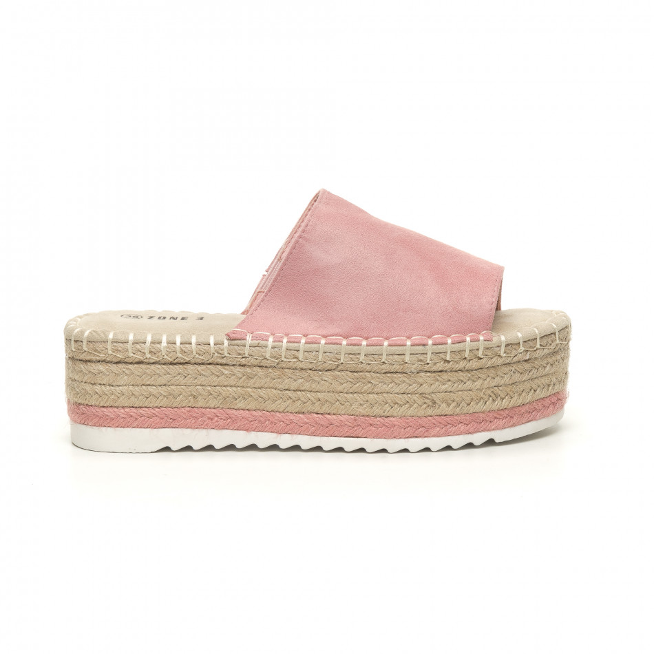 Γυναικείες ροζ παντόφλες τύπου Εσπαντρίγιες it050619-90