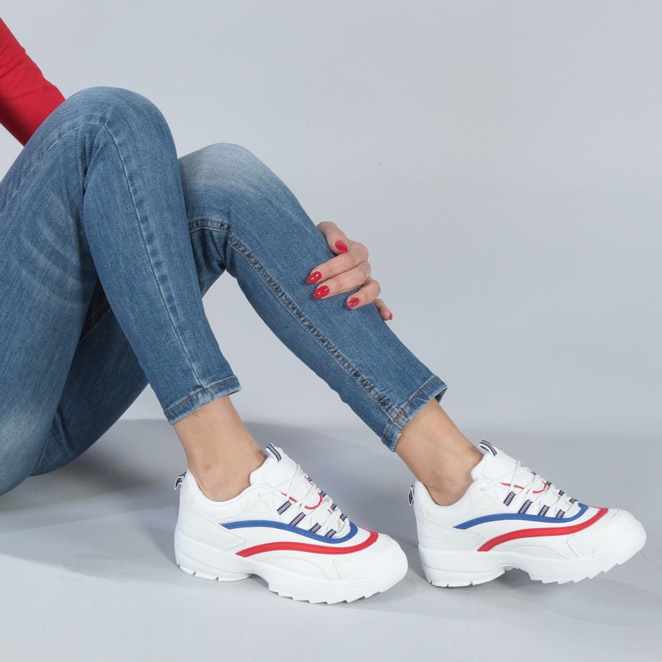 Γυναικεία λευκά sneakers με χρωματιστές λωρίδες it250119-88