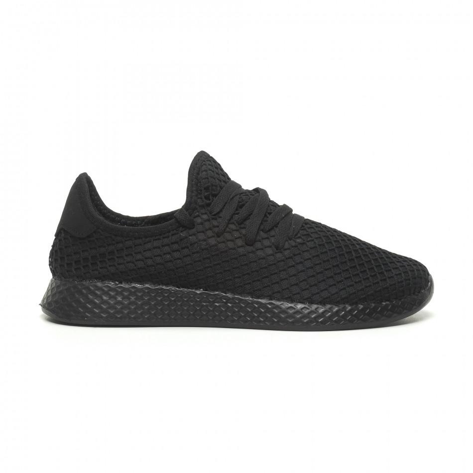 Ανδρικά μαύρα αθλητικά παπούτσια Mesh ελαφρύ μοντέλο it230519-1