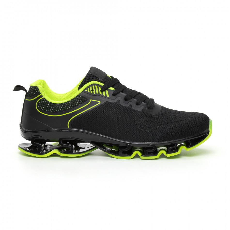 Ανδρικά μαύρα και νέον αθλητικά παπούτσια Blade it110919-7