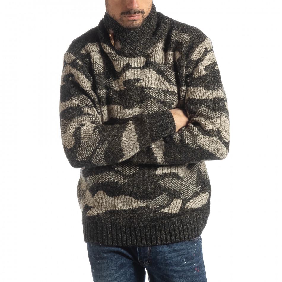 Ανδρικό καφέ πουλόβερ παραλλαγής με γιακά it051218-52