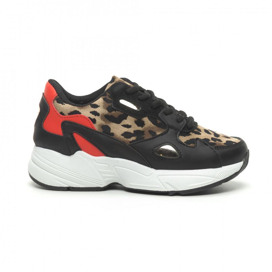 Γυναικεία αθλητικά παπούτσια με κόκκινες και λεοπάρ λεπτομέρειες it230519-20