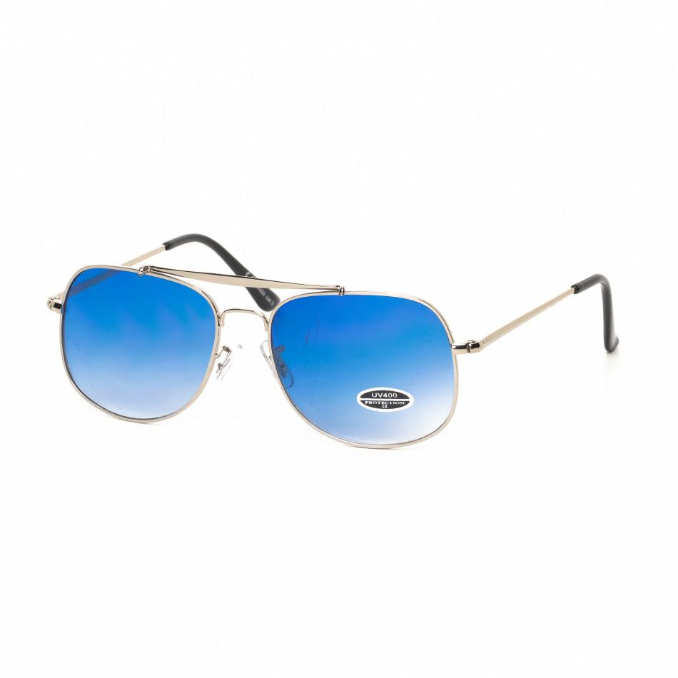 Ανδρικά μπλε γυαλιά ηλίου με ασημί σκελετό it030519-25