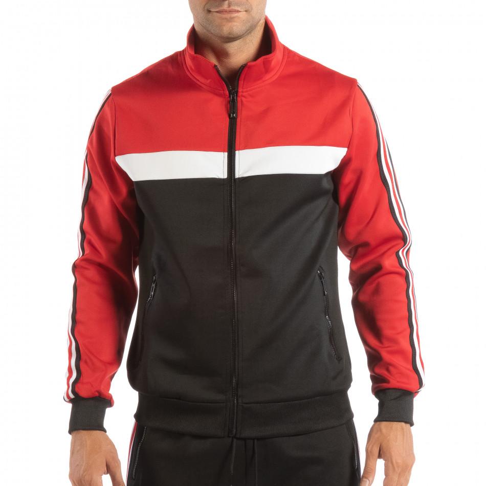 Ανδρικό μαύρο φούτερ με ριγέ 5 striped σε κόκκινο it240818-107