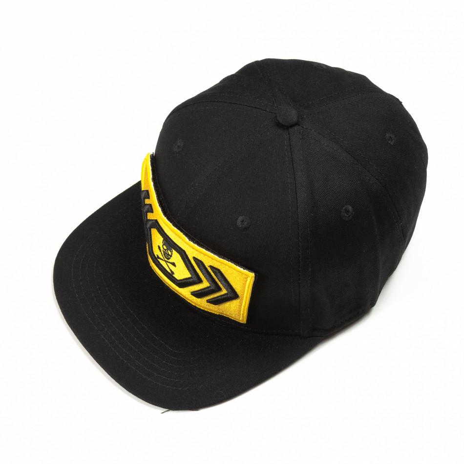 Μαύρο καπέλο με κίτρινη ρίγα it290818-2