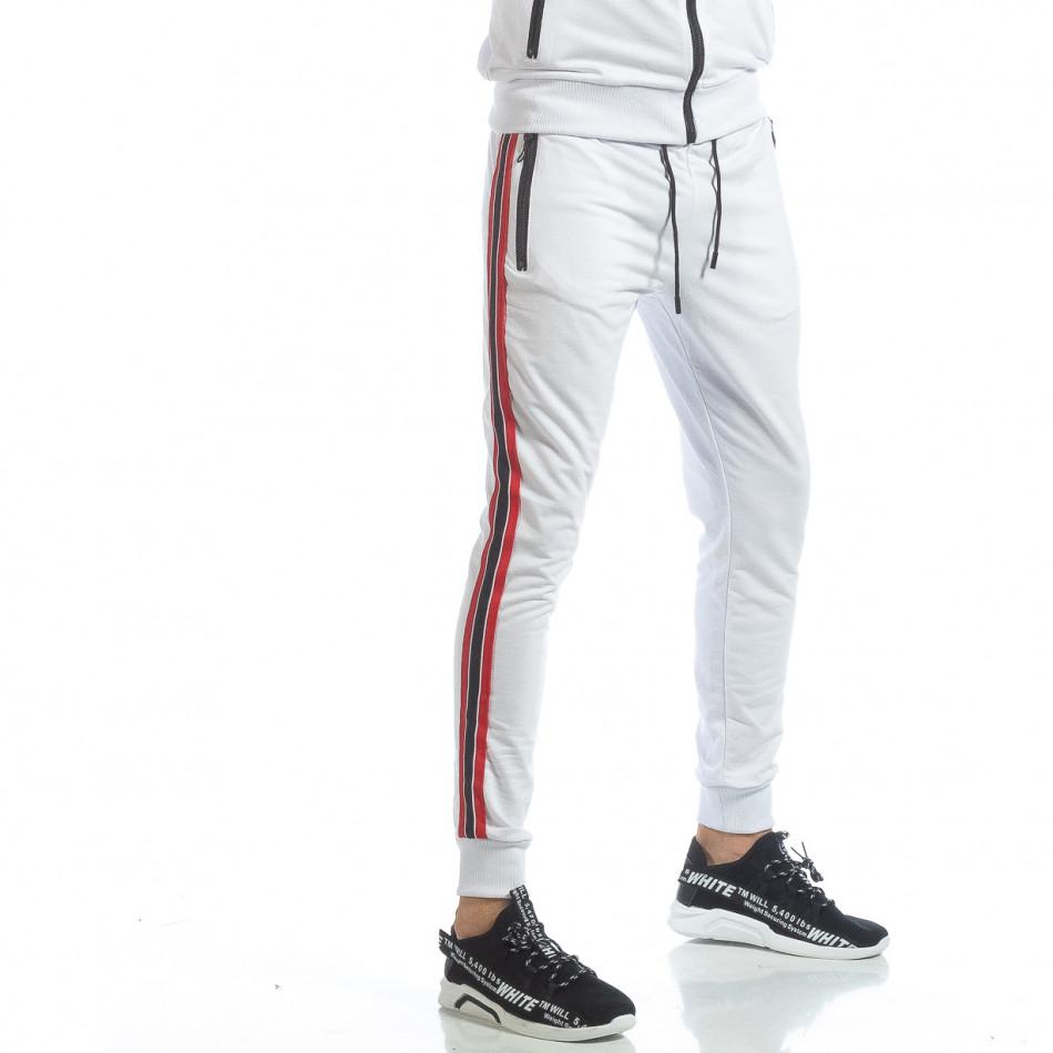 Ανδρική λευκή φόρμα με ρίγες it040219-58