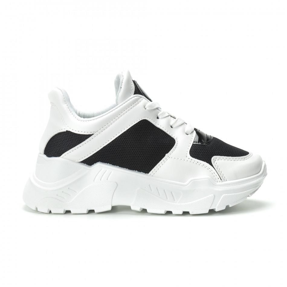 Γυναικεία ασπρόμαυρα sneakers με πλατφόρμα it250119-67