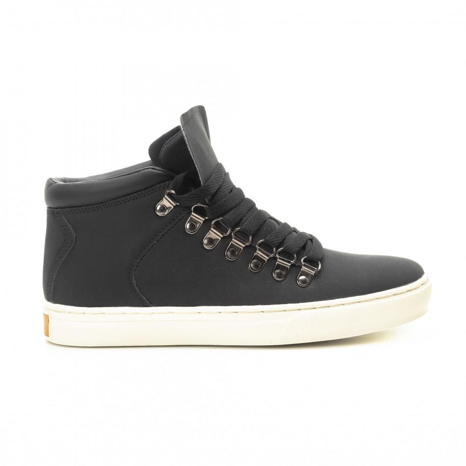 Ανδρικά μαύρα ψηλά sneakers με κορδόνια it301118-11