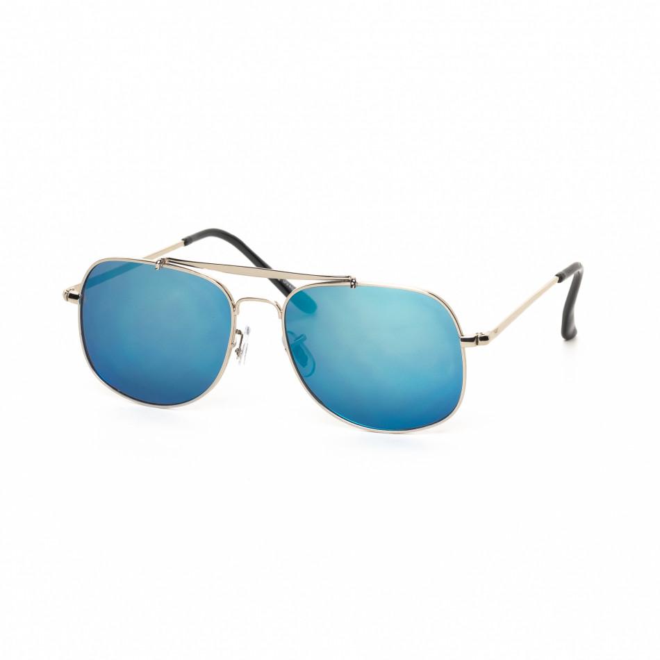 Ανδρικά γαλάζια γυαλιά ηλίου με ασημί σκελετό it030519-26
