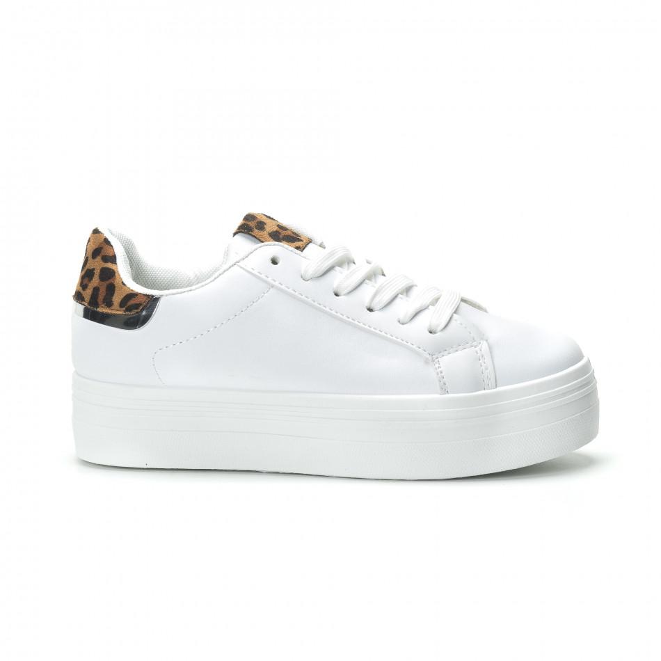 Γυναικεία λευκά sneakers με πλατφόρμα και διακοσμητικό πριντ it250119-52