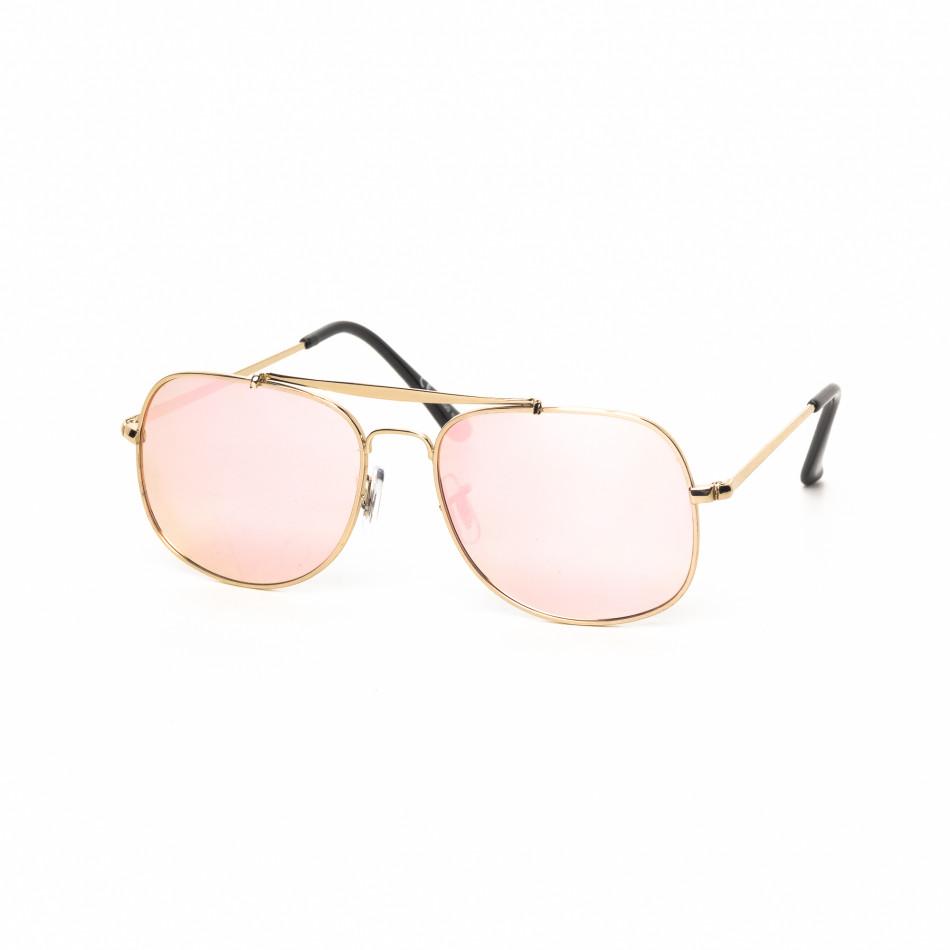Ανδρικά ροζ γυαλιά ηλίου με χρυσαφί σκελετό it030519-27