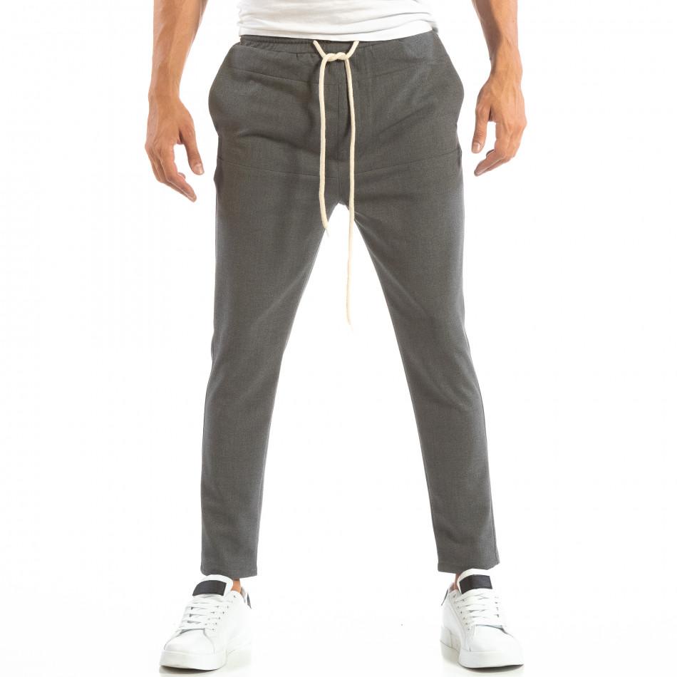 Ανδρικό σκούρο γκρι παντελόνι τύπου Jogger it240818-66