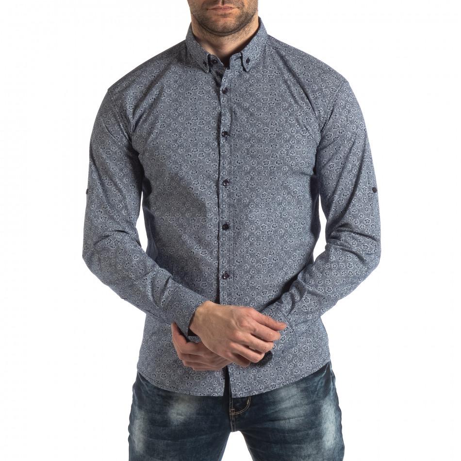 Ανδρικό γαλάζιο Slim fit πουκάμισο με φλοράλ μοτίβο it210319-92