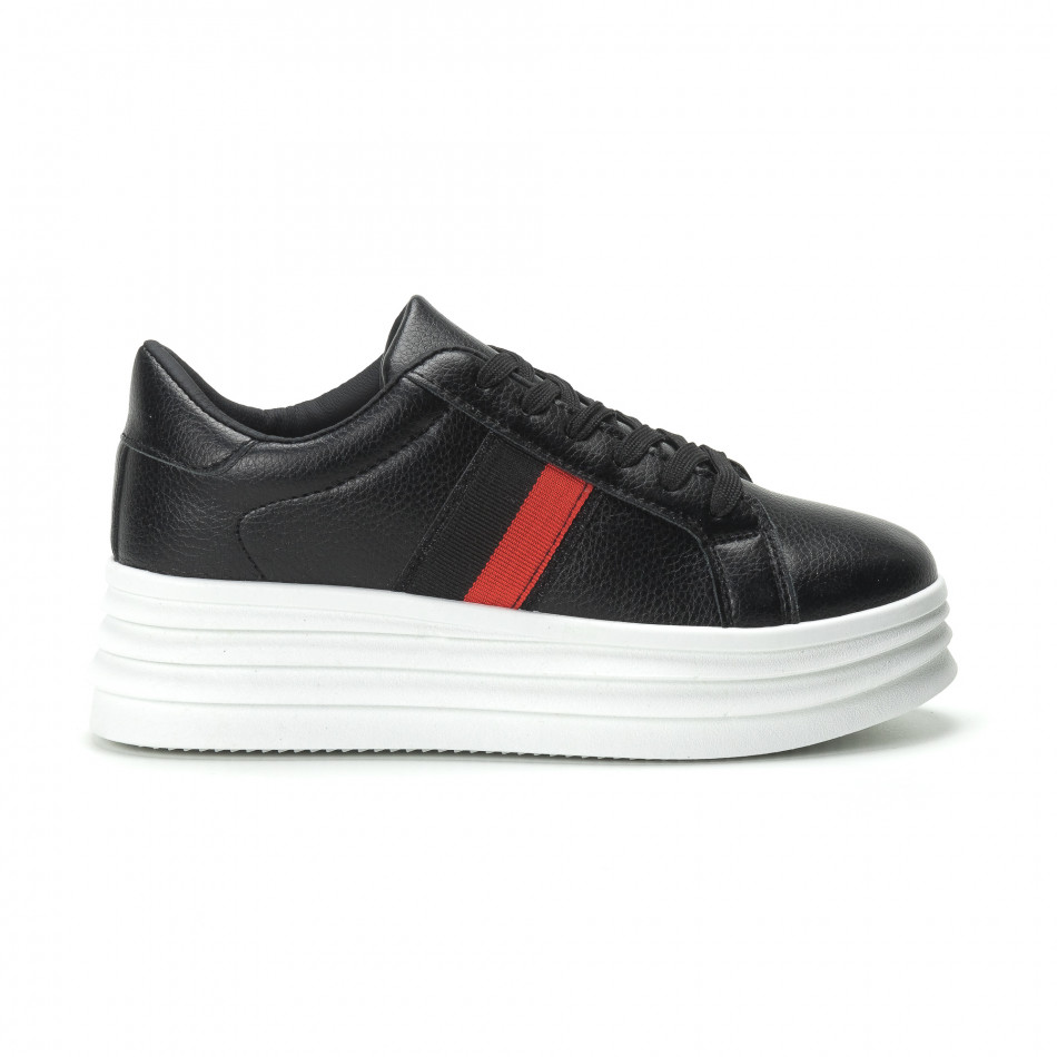 Γυναικεία μαύρα sneakers με διακοσμητική λεπτομέρεια it250119-89