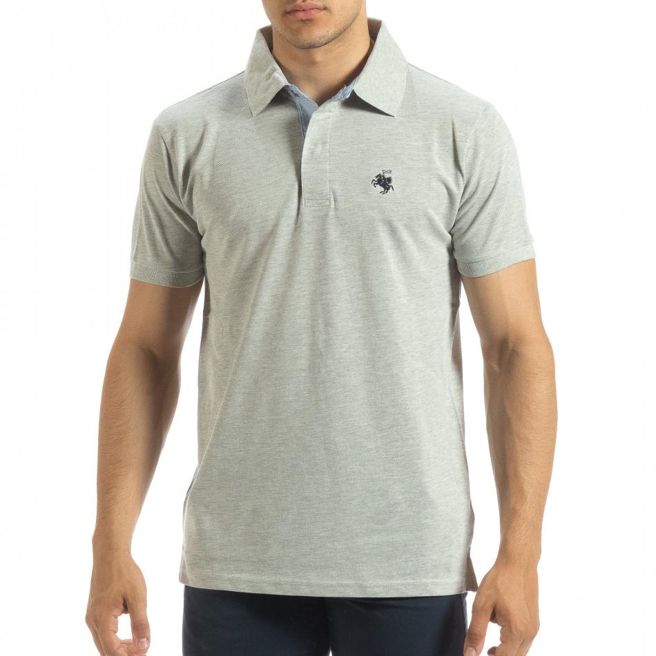 Ανδρική γκρι  polo shirt  it120619-31