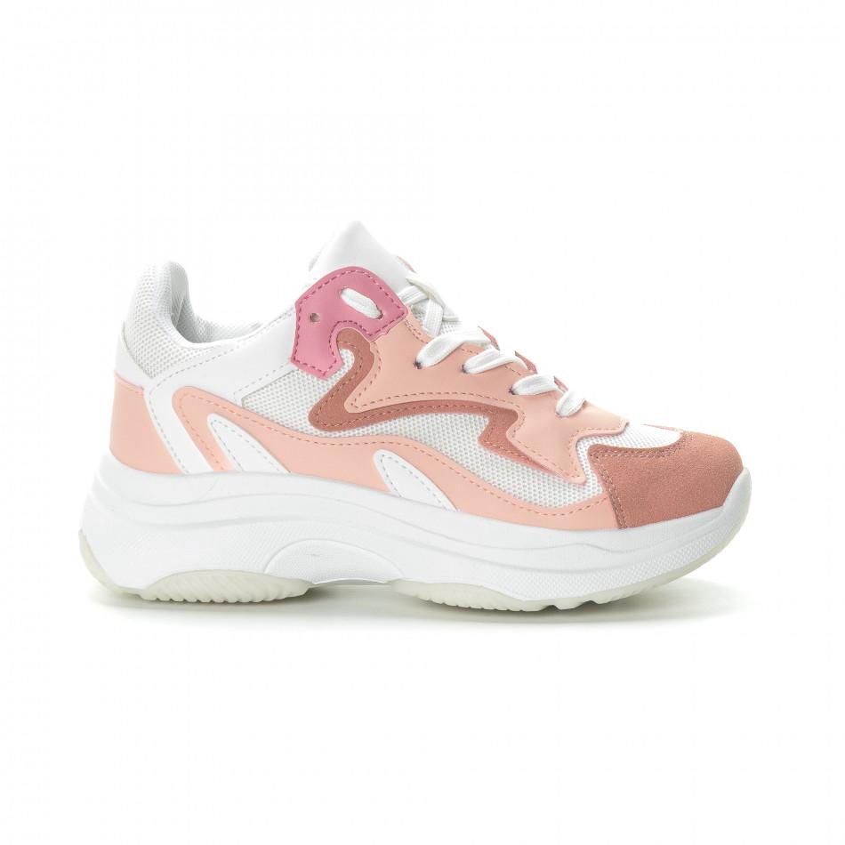 Γυναικεία ροζ αθλητικά παπούτσια με χοντρή σόλα it270219-5