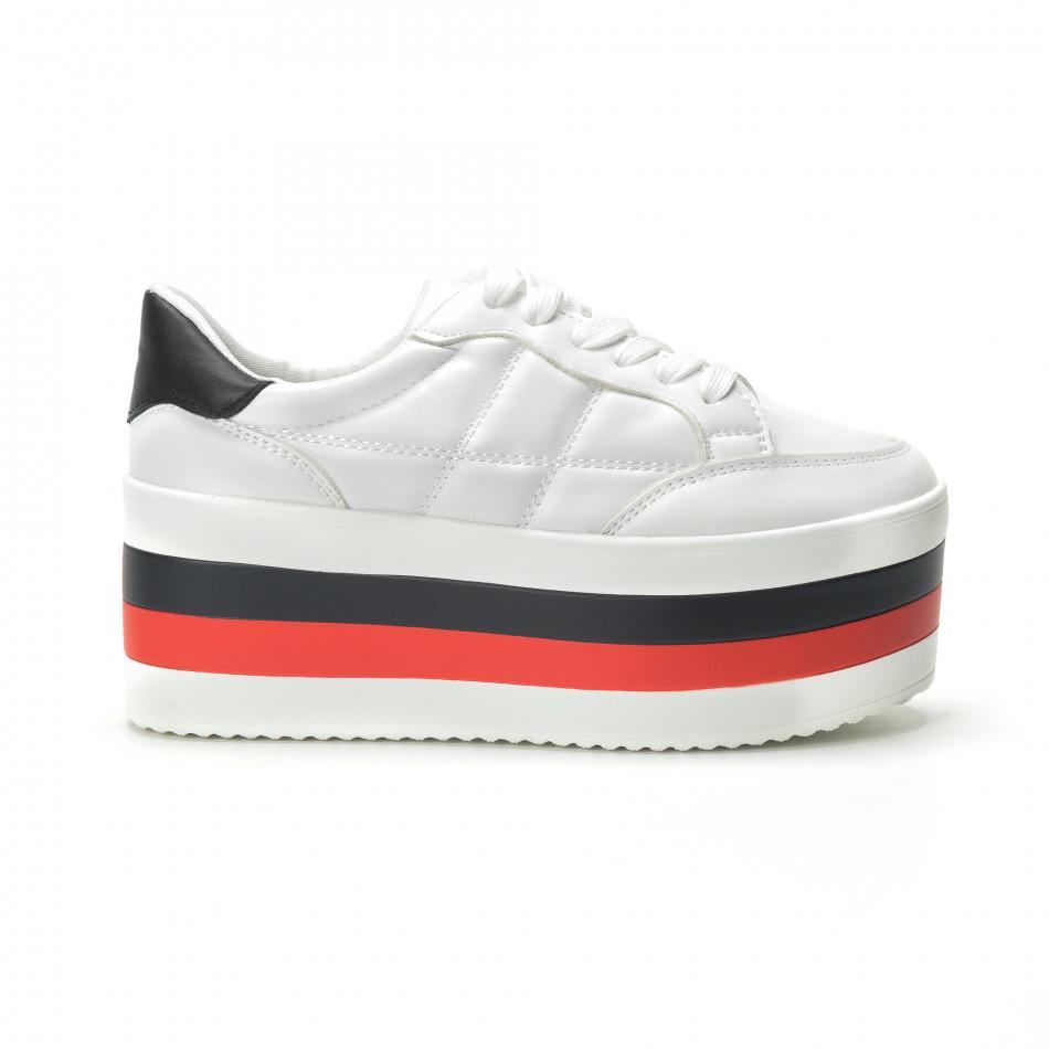 Γυναικεία λευκά sneakers με πλατφόρμα it250119-55