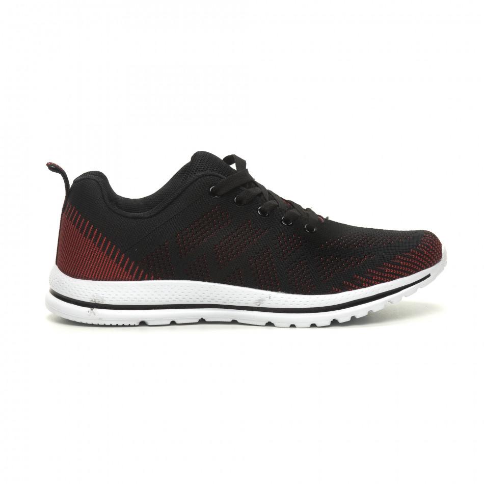 Ανδρικά πλεκτά αθλητικά παπούτσια σε μαύρο-κόκκινο it040619-8