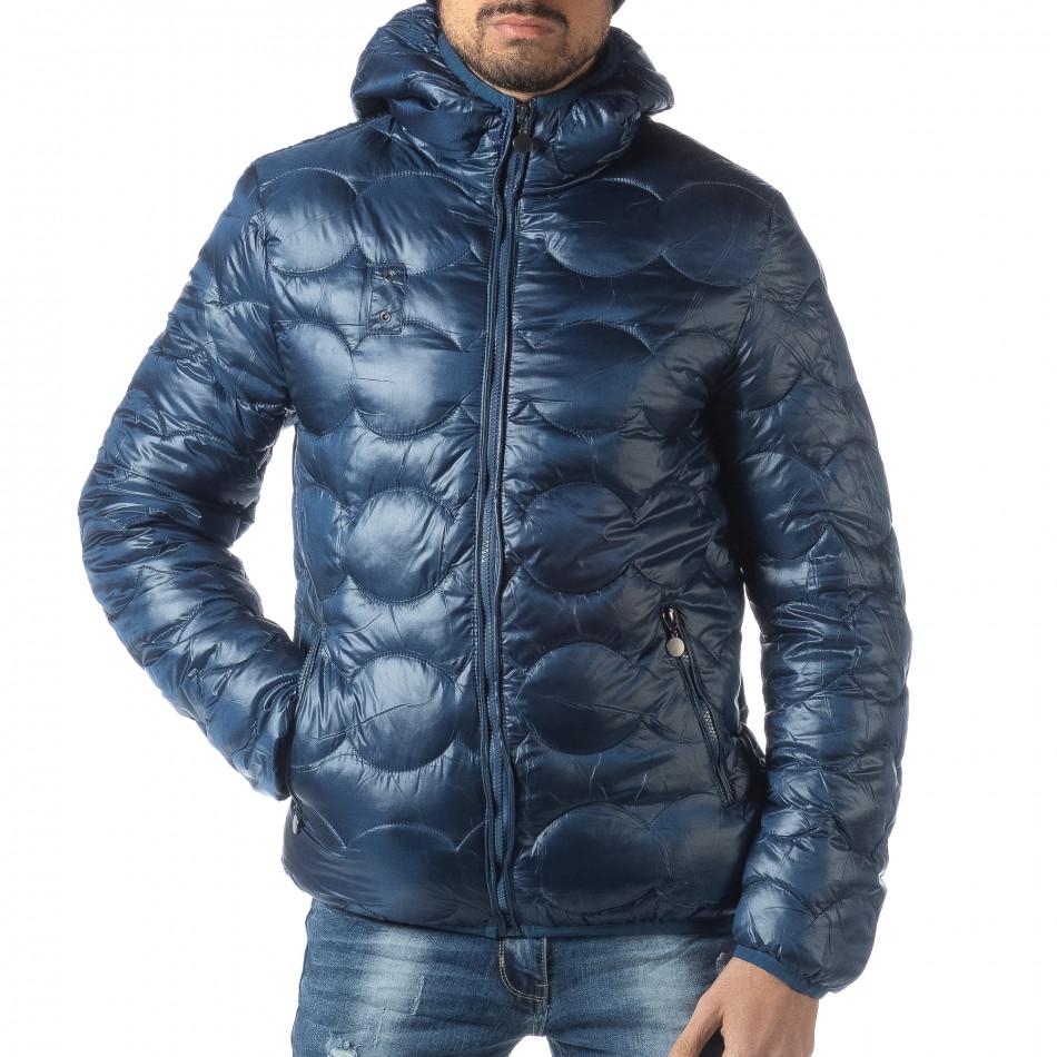 Ανδρικό γαλάζιο χειμερινό καπιτονέ μπουφάν   it051218-66