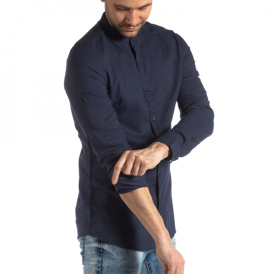 Ανδρικό σκούρο μπλε πουκάμισο από λινό και βαμβάκι it210319-106