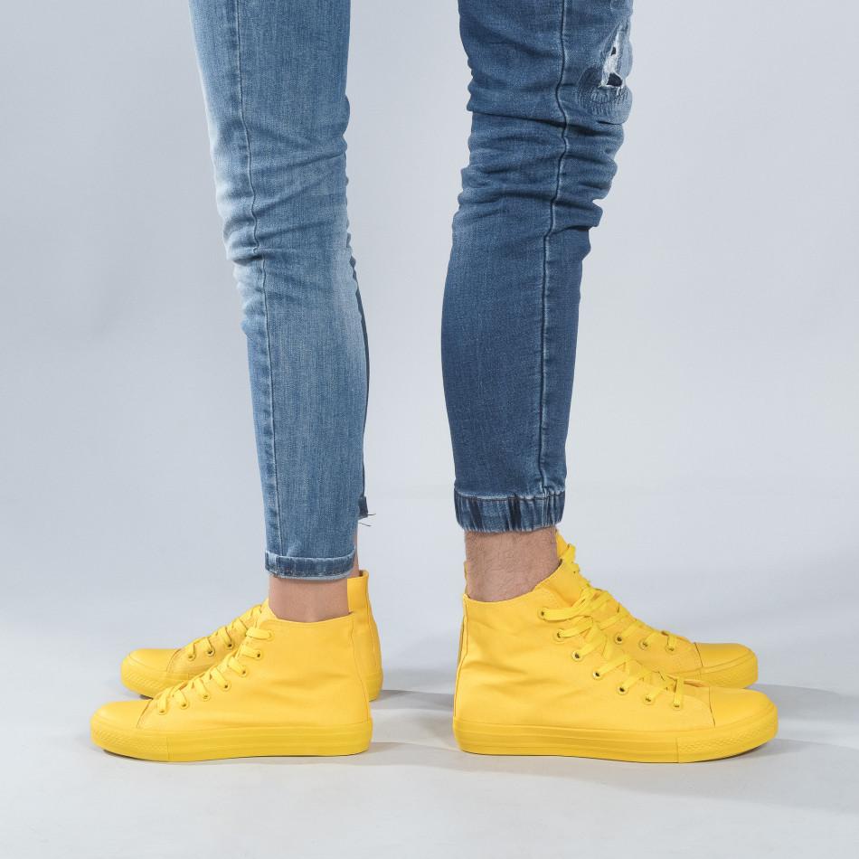 Ψηλά κίτρινα sneakers για ζευγάρια cs-yellow-B341-B339