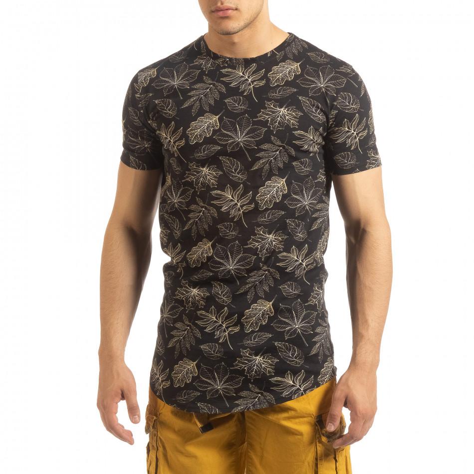 Ανδρική μαύρη κοντομάνικη μπλούζα Leaves σχέδιο it090519-57