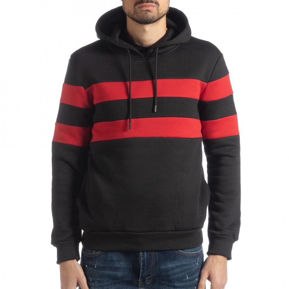 Ανδρικό φούτερ σε μαύρο και κόκκινο με επένδυση it051218-37