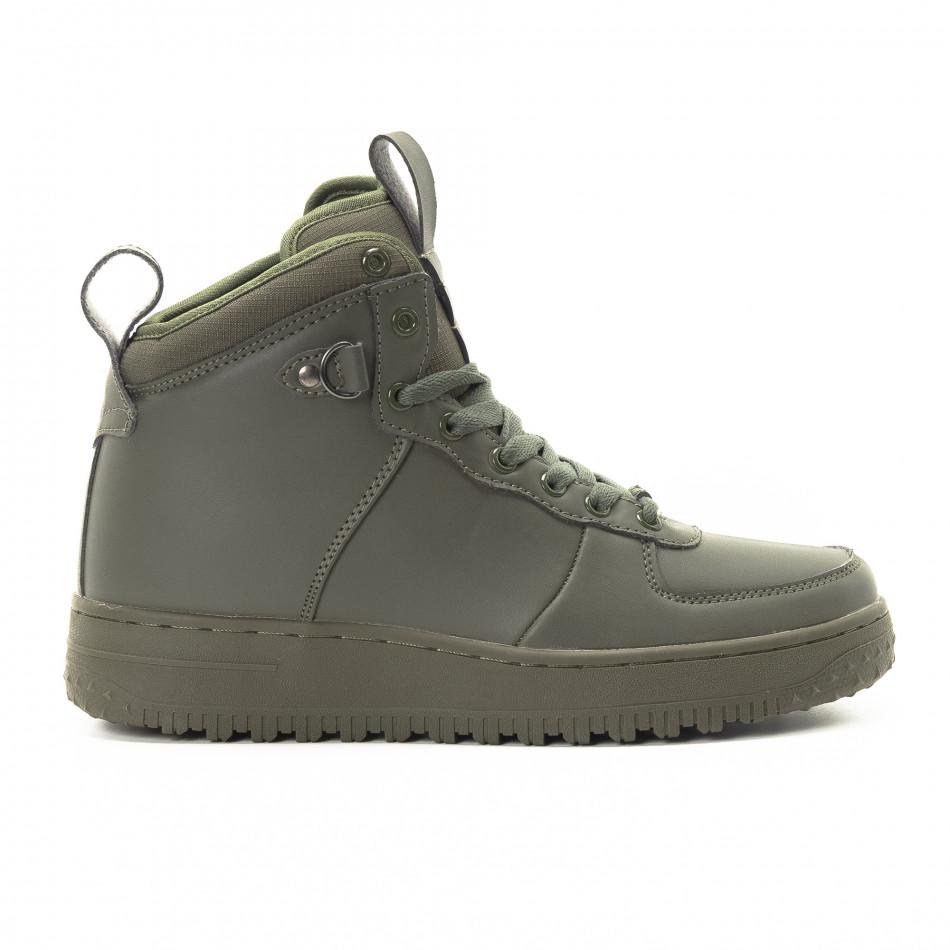 Ανδρικά ψηλά χακί sneakers με τρακτερωτή σόλα it301118-9