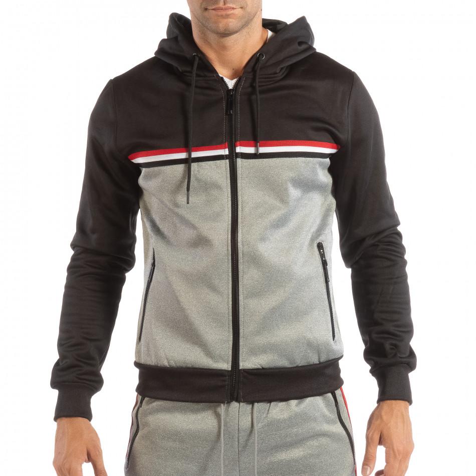 Ανδρικό γκρι φούτερ 3 striped με μαύρη κουκούλα it240818-109