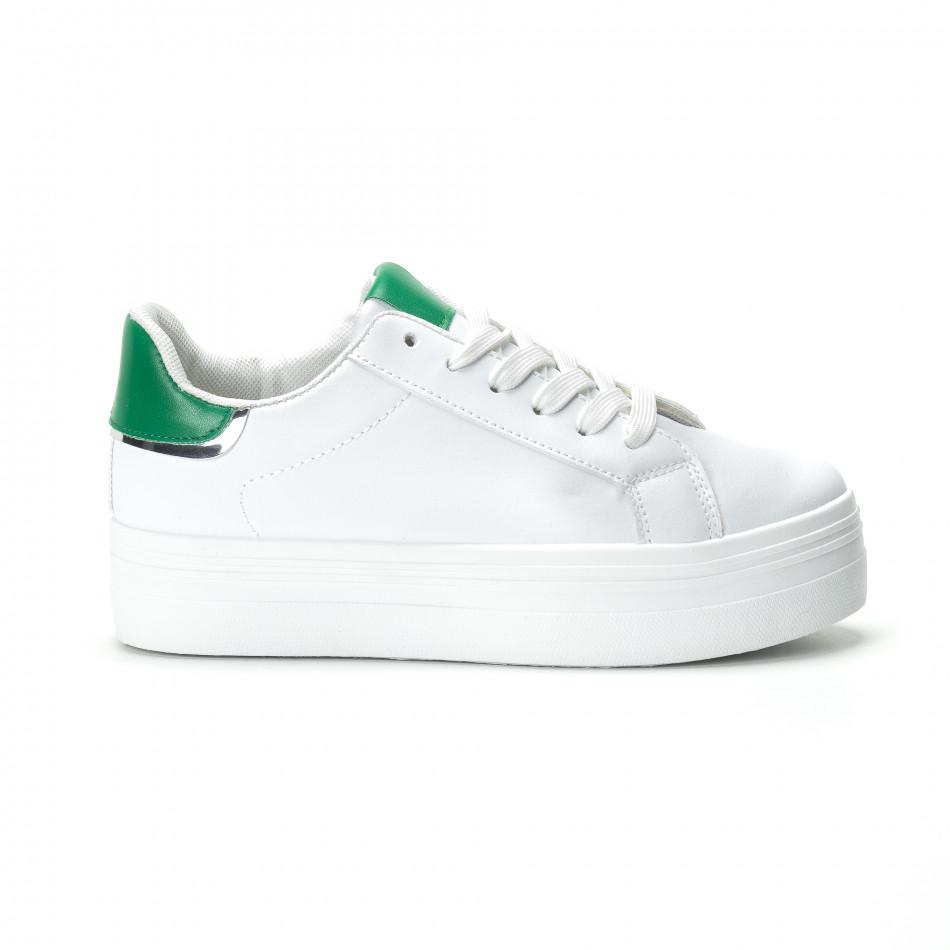 Γυναικεία λευκά sneakers με πλατφόρμα και πράσινη λεπτομέρεια it250119-51